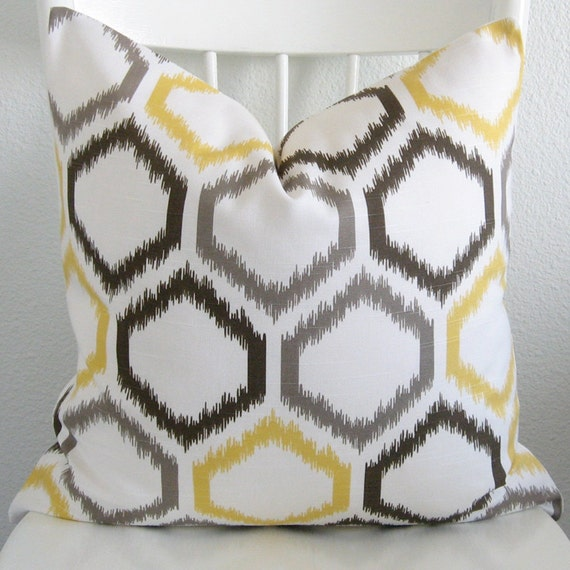 Decorative Throw Pillows Etsy : Dwell Studio Ikat Trellis Citrine decorative pillow cover
