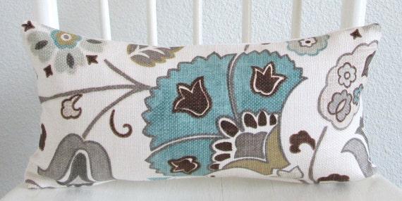 Floral aqua blue white 8x16 mini lumbar pillow cover
