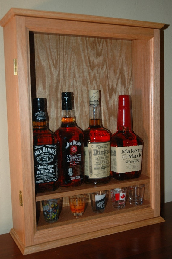 Locking Oak Liquor Cabinet Small