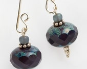 Earrings Blueberry Czech glass, picasso finish on elongated sterling earwire
