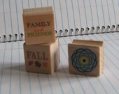 Set of Three Mini Rubber Stamps-Art Supply-Scrapbooking Supplies
