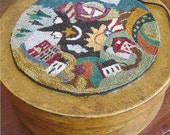 Primitive Folk Art Punchneedle Pattern:   MY WORLD --  Weavers Cloth Included
