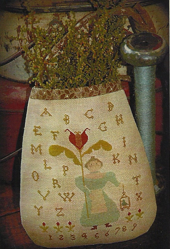 Primitive Folk Art Cross Stitch Pattern:    SARAHS GARDEN Pocket