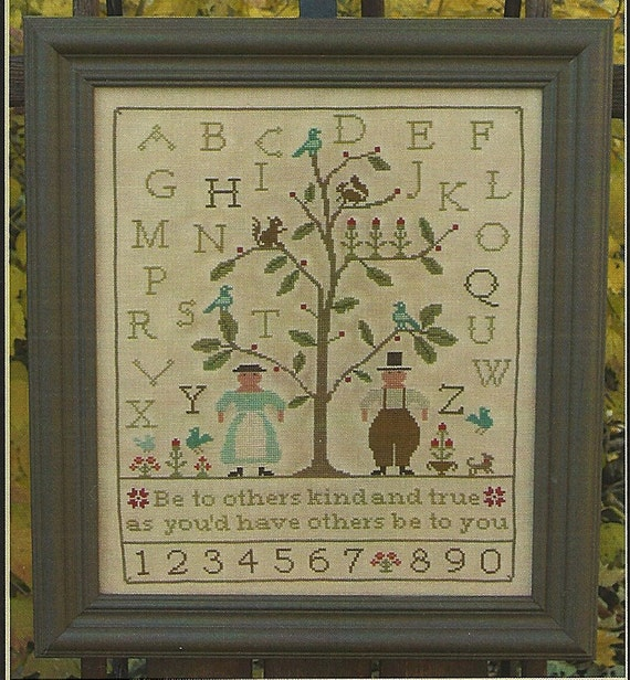 Primitive Folk Art Cross Stitch Pattern:  Be KIND & Be TRUE