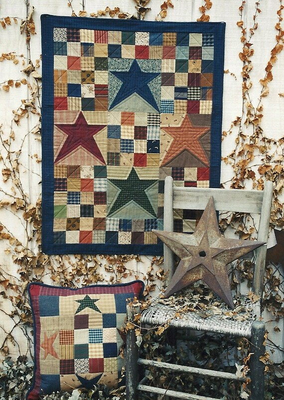 Folk Art Quilt Ideas : Primitive Folk Art Quilt Wall Hanging and by PrimFolkArtShop