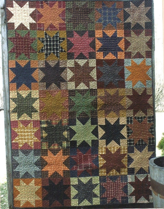 Items similar to Primitive Folk Art Quilt Pattern: OPPOSITES ATTRACT on Etsy
