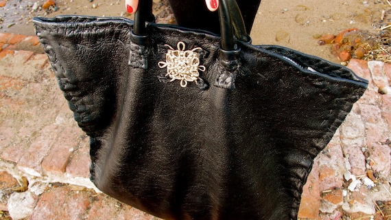 Large Black Goth Tote with a Sterling Silver .925 Victorian Embellishment -- made to order