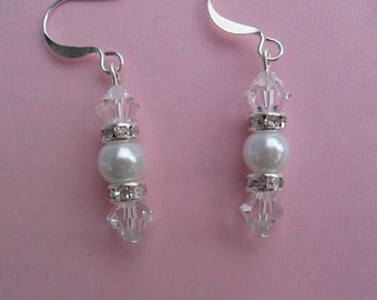 Swarovski Crystal and White Pearl Earring