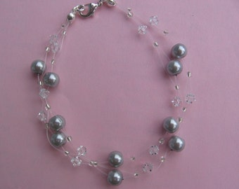 Two Row Pearl and Swarovski Bracelet
