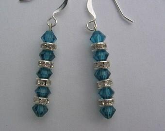 Teal Swarovski Earrings