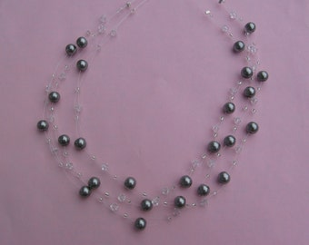 Dark Silver Pearl Swarovski Necklace
