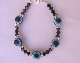 Evil Eye Bracelet with Swarovski Crystals
