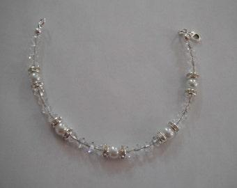 White Pearl and Swarovski Crystal Bracelet