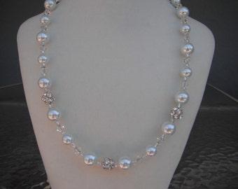 White Pearl and Swarovski Crystal Rhinestone Necklace