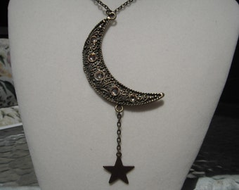 Moon and Star Antique Gold Necklace
