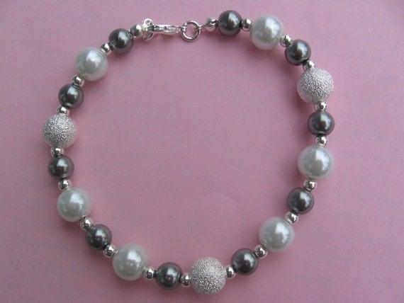 Silver Bracelet with White and SIlver Pearls