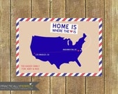 Postal Mail Stripes And States Moving Announcement (Postcard)