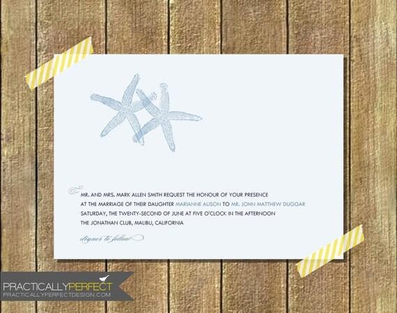 Starfish Wedding Invitation Kit: Items Similar To Modern Starfish Wedding Invitation