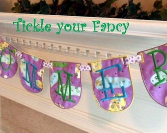 Fabric Word Banner with Six panels in Flip Flop Material to Celebrate the Summer or Spring Months