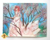 Cherry lady - sakura cherry tree and big dress girl original illustration - fashion art - large art
