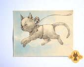 Original cat illustration - And Off We Go - flying cat and a girl in the sky