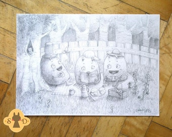 Three monsters picnic time - pencil drawing - balck and white drawing - kids room decor