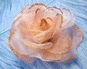 """Mistyrose - 4"""" - Glittered Organza Flower for millinery/corsage/floral design/altered couture/accessories"""