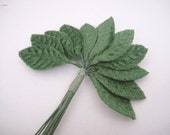 2 x 12 Pcs Small Velvet Millinery Leaves with bendable wires - Great for Crafting/Floral Supply/Scrapbooking