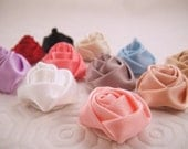 You Pick Color - Small Satin Hand-Rolled Rosette - 3/4-1 inch - Set of 12