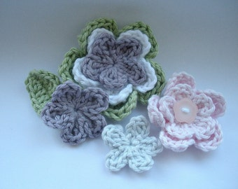 Crochet Pattern Flower Applique - patterns are 3 layer 2 layer small and tiny flowers plus a leaf instant download
