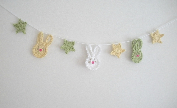 Crochet Garland Bunny or Baby Shower Bunny Rabbit Bunting - choose your colors and shapes