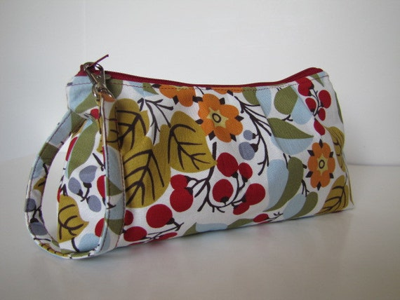 Pleated Wristlet Zipper Pouch / Bridesmaid Gift -- Multi Mod Floral