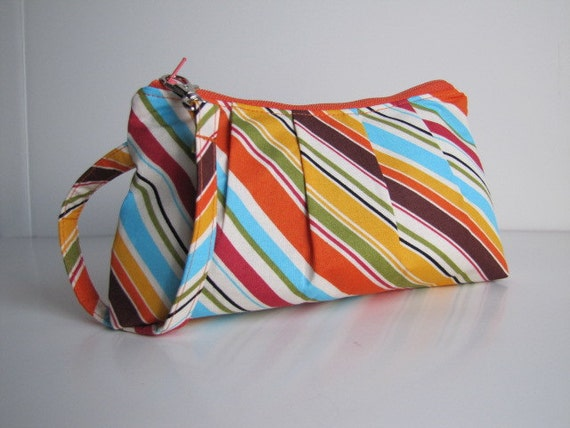 Pleated Wristlet Zipper Pouch -- Multi Stripes