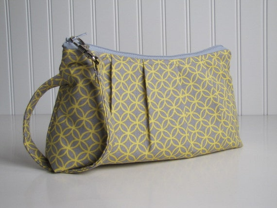 Pleated Wristlet Zipper Pouch / Bridesmaid Gift  - Yellow and Grey Retro Circle