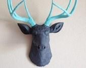 Charcoal & Robins Egg Blue Deer Head Wall Mount