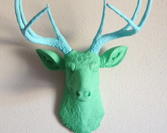 Mint & Baby Blue Deer Head Wall Mount
