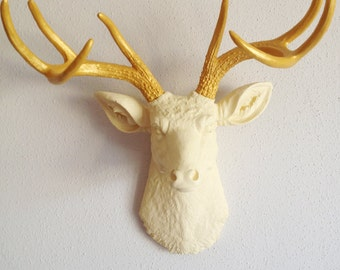 Cream and Gold Deer Head Wall Mount
