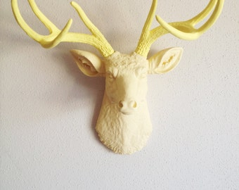 Cream and Soft Yellow Deer Head Wall Mount