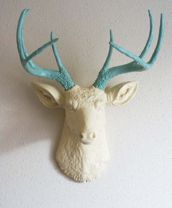 Cream & Robins Egg Blue Deer Head Wall Mount
