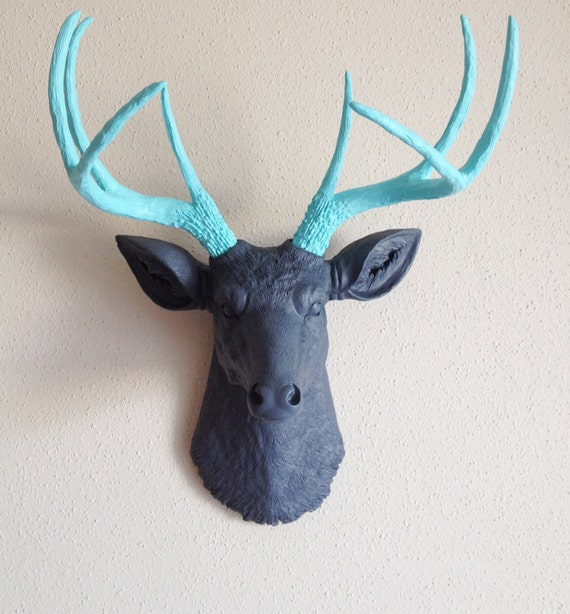Charcoal & Robins Egg Blue Deer Head Wall Mount