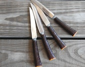 Vintage Bakelite Faux Horn Steak Knife Set