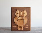 Vintage Handmade Woodcut Owl Wall Hanging