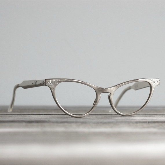 1950s Cat Eye Silver Aluminum Eyeglass Frames