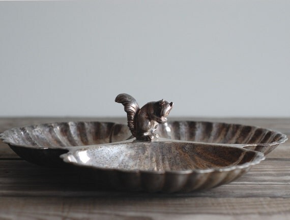 Silverplate Squirrel Candy and Nut Dish