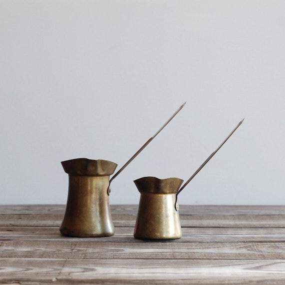 Vintage Pair of Brass Turkish Pots