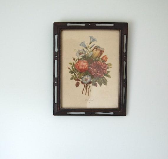 Vintage Botanical Print in Wood Frame / J.L. Prevost Floral Framed Art Print / Peony, Rose, Tulip, and Morning Glory Bouquet