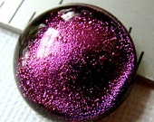 Fused Dichroic Glass Cabochon 15 mm Pink Pretty