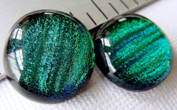 Dichroic Glass Cabochons 18 mm Green Blue Set of 2