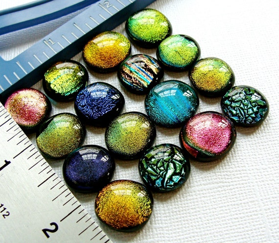 Dichroic Fused Glass Cabochons 14 to 18 mm Lot of 16 Handmade