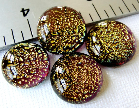 Dichroic Fused Glass Cabochons 15 to 18 mm Gold in Purple Set of 4
